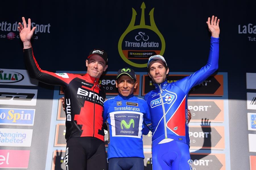 Il podio finale dell'edizione 2017 vinta da Nairo Quintana davanti a Rohan Dennis e Thibaut Pinot