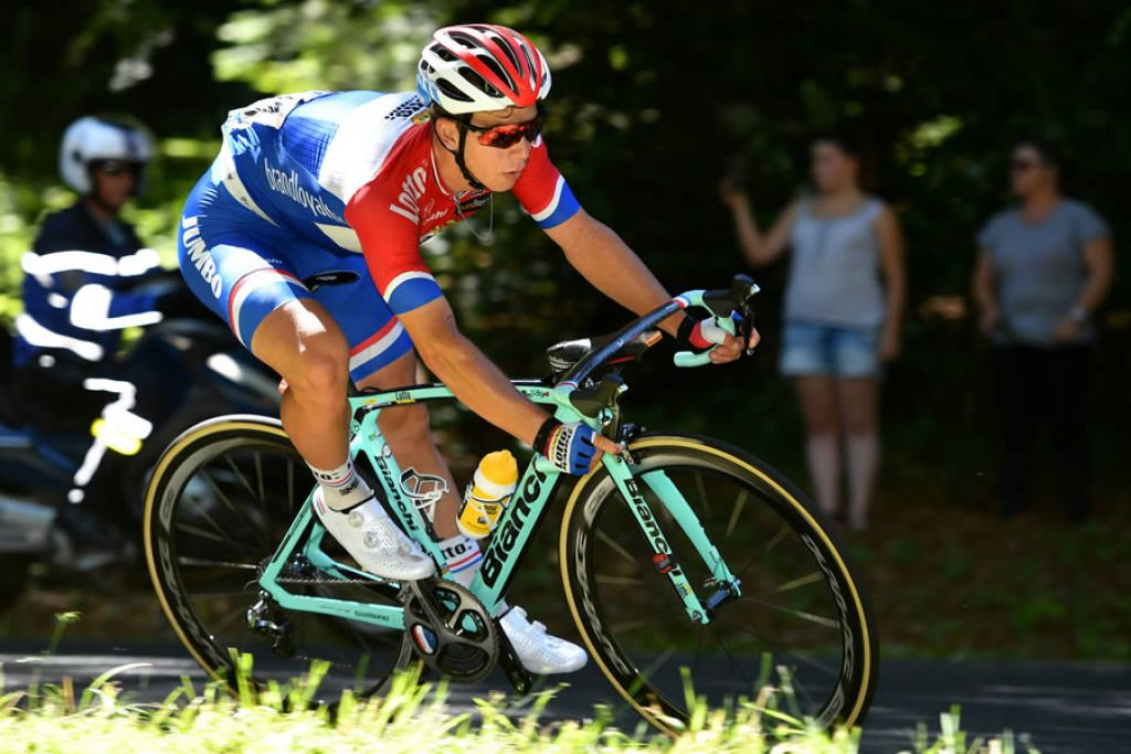 Dylan Groenewegen in gara con Oltre XR4 (Credits Bettini Photo)