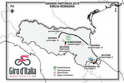 Giro d'Italia 2019, partenza sabato 11 maggio da Bologna